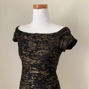 Gold and Black Bodycon Dress
